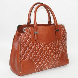 Rebecca Minkoff Brown Leather Zipper Trim Handbag